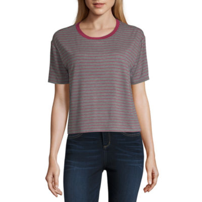 Arizona Long Sleeve Crew Neck Stripe T-Shirt-Womens Juniors