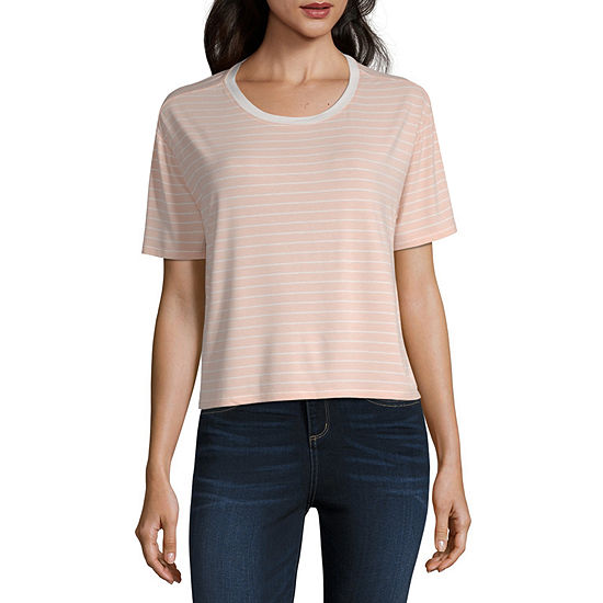 Arizona Short Sleeve Crew Neck Stripe T-Shirt-Womens Juniors