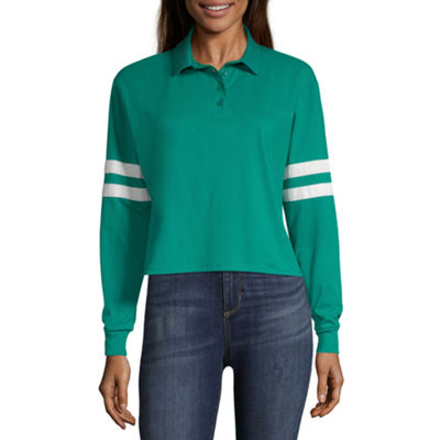 Arizona Long Sleeve Knit Polo Shirt - Juniors