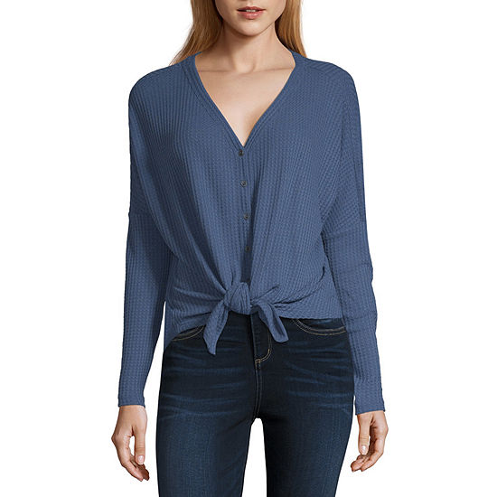 a.n.a-Womens V Neck Long Sleeve T-Shirt