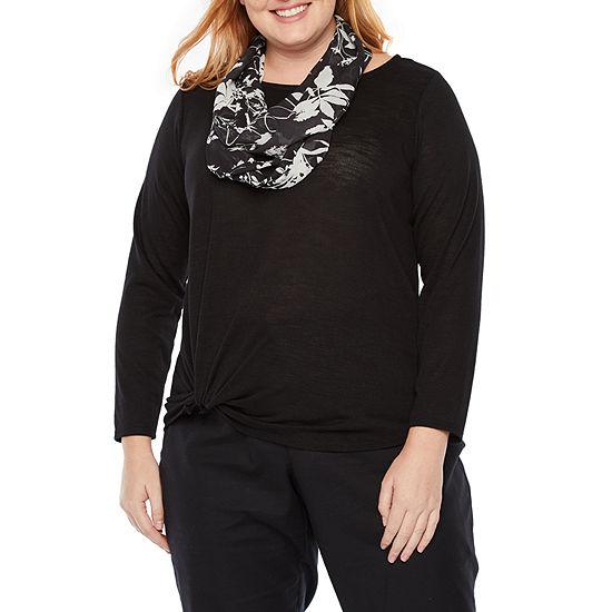 Alyx Womens Round Neck 3/4 Sleeve Tunic Top-Plus