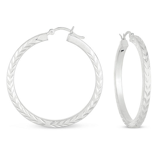 Sterling Silver 40.1mm Hoop Earrings