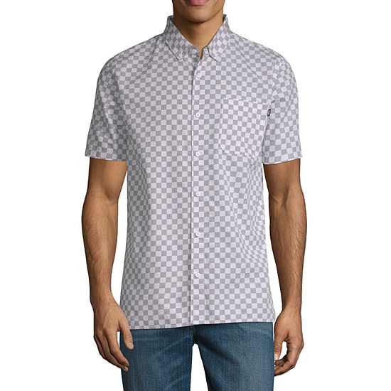 Vans Mens Short Sleeve Checked Button-Front Shirt
