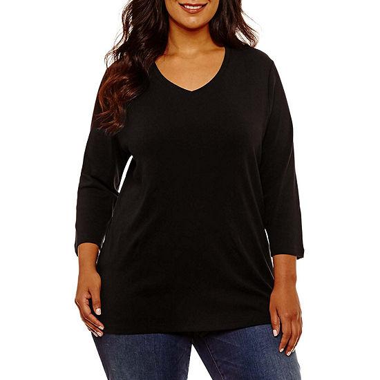 St. John's Bay-Womens V Neck 3/4 Sleeve T-Shirt
