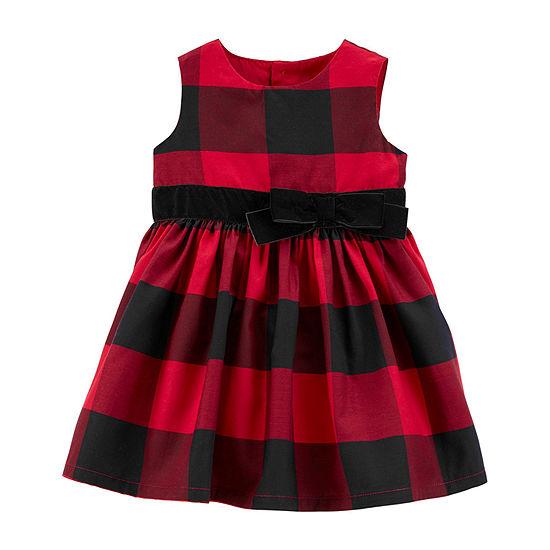 Carter's Girls Long Sleeve Plaid A-Line Dress - Baby