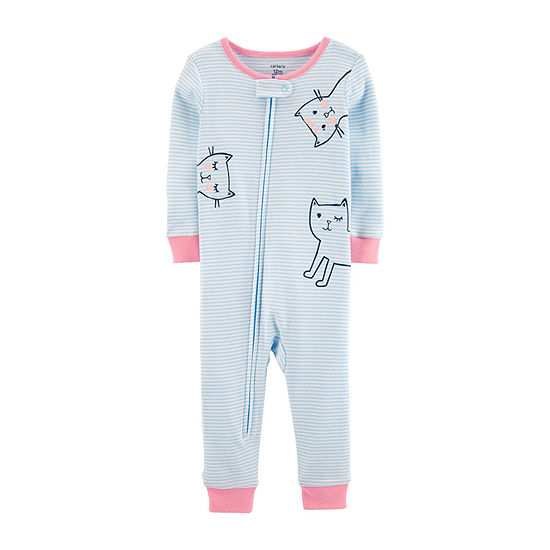 Carter's Girls Knit Long Sleeve One Piece Pajama