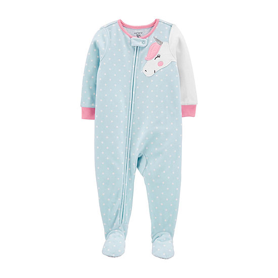 Carter's Girls Microfleece Long Sleeve Crew Neck One Piece Pajama