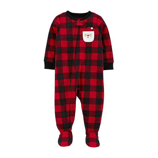 Carter's Christmas Boys Microfleece One Piece Pajama Long Sleeve