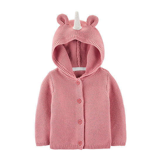 Carter's Girls Hooded Neck Long Sleeve Cardigan - Baby