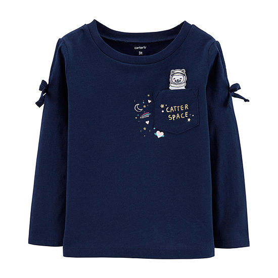 Carter's Girls Crew Neck Long Sleeve Graphic T-Shirt-Toddler