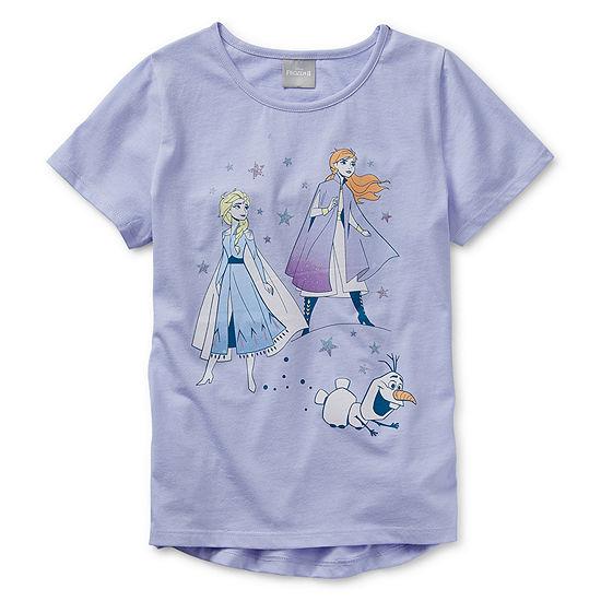 Disney Girls Crew Neck Short Sleeve Frozen Graphic T-Shirt - Preschool / Big Kid