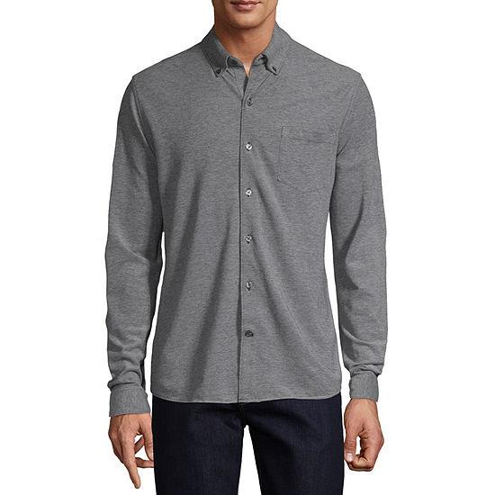 Claiborne Slim Mens Long Sleeve Button-Front Shirt