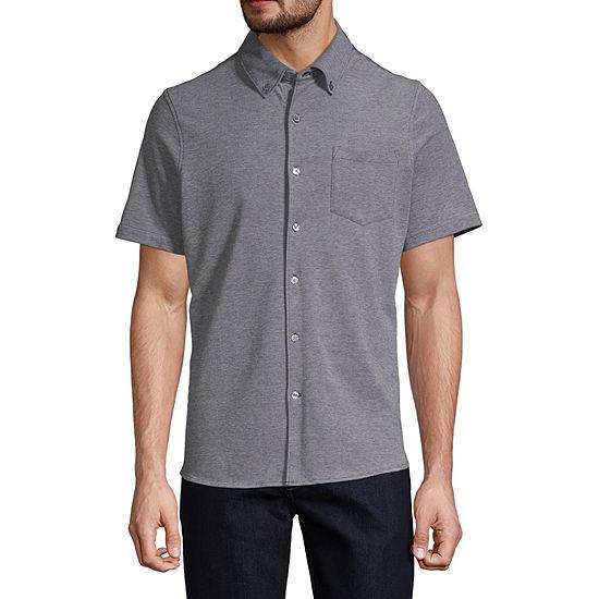 Claiborne Slim Mens Short Sleeve Button-Front Shirt
