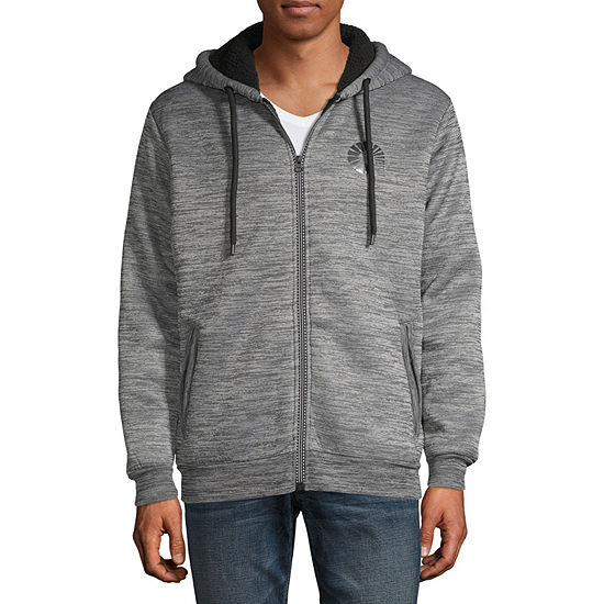 Akademiks Mens Long Sleeve Sherpa Lined Hooded Hoodie