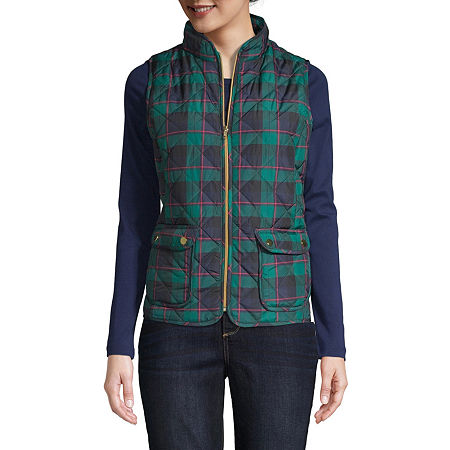 St. John's Bay Quilted Vest, Petite Large , Green