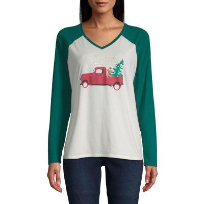 City Streets V Neck Long Sleeve Holiday T-Shirt