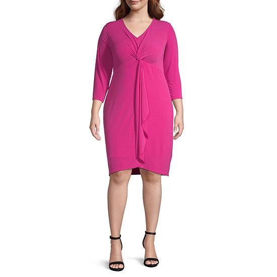 Bold Elements 3/4 Sleeve Bodycon Dress-Plus