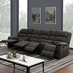 Hairu 4 Seat Recliner with 2 Power Storage Consoles in Velour