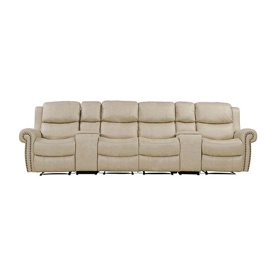 Roku 4 Seat Wall Hugger Recliner with 2 Power Storage Consoles