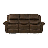 Roku Faux Leather 3 Seat Wall Hugger Recliner Sofa Deals