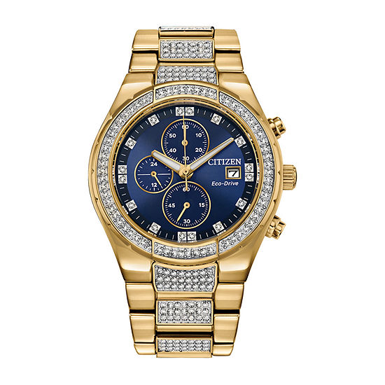 Citizen Eco-Drive Mens Crystal Accent Gold Tone Stainless Steel Bracelet Watch - Ca0752-58l