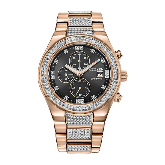 Citizen Eco-Drive Mens Crystal Accent Rose Goldtone Stainless Steel Bracelet Watch-Ca0753-55e