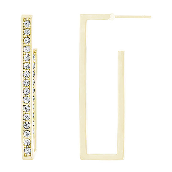 Sparkle Allure Crystal Pure Silver Over Brass Rectangular Hoop Earrings