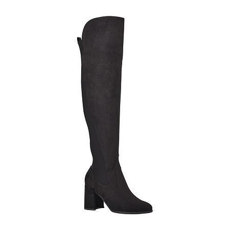 Unisa Womens Bryant Over the Knee Block Heel Boots, 10 Medium, Black
