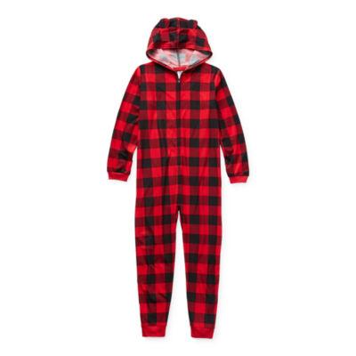 North Pole Trading Co. Buffalo Plaid Little & Big Unisex Husky Knit Long Sleeve One Piece Pajama