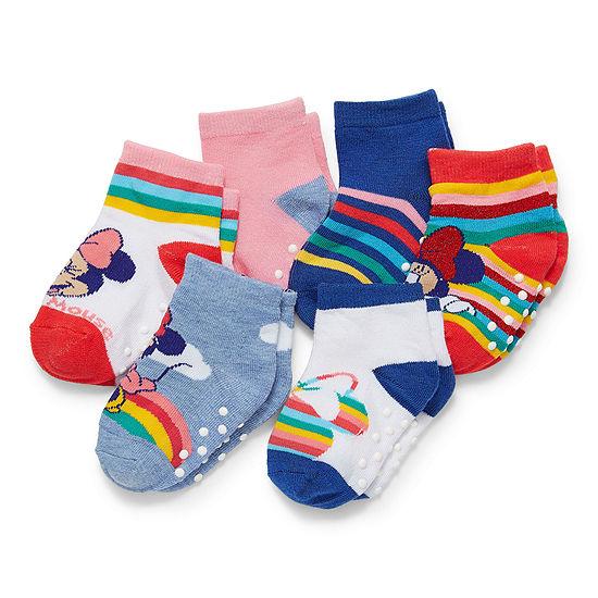 Toddler Girls 6 Pair Minnie Mouse Quarter Socks