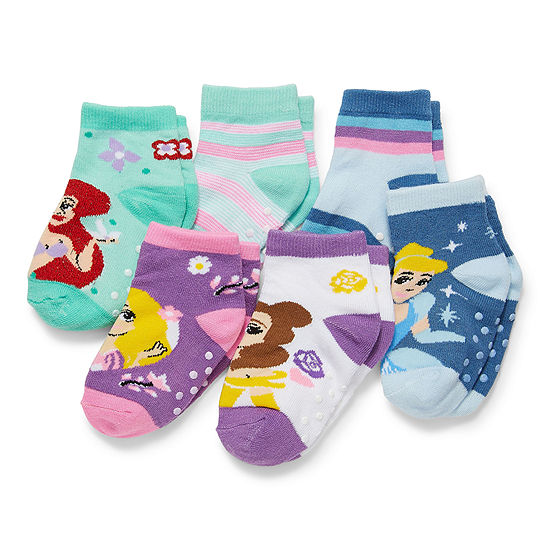 Toddler Girls 6 Pair Disney Princess Quarter Socks
