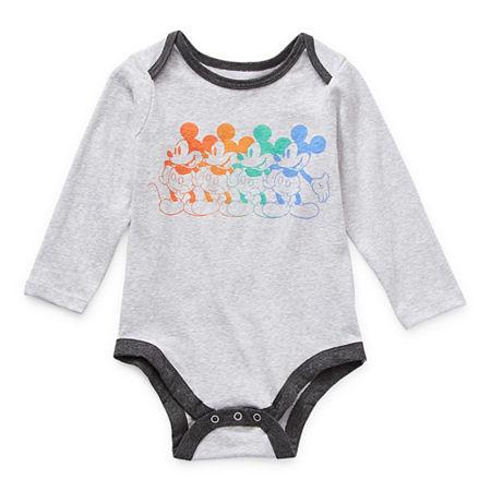 Okie Dokie Baby Boys Mickey Mouse Bodysuit, 3 Months , Gray