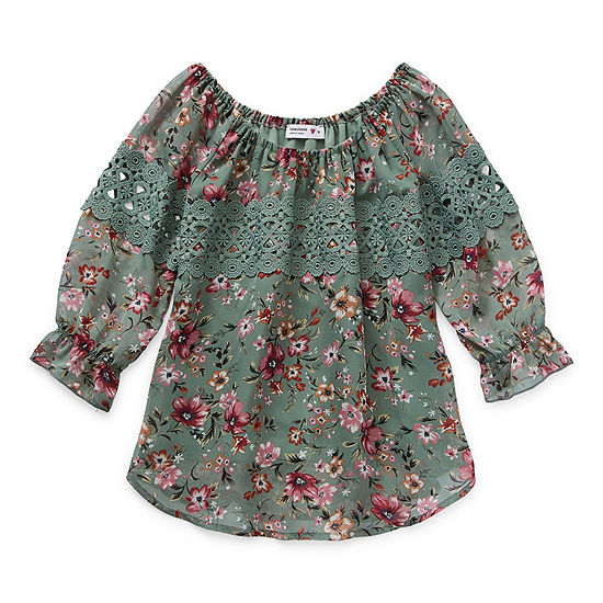 Knit Works Little & Big Girls Scoop Neck Long Sleeve Blouse