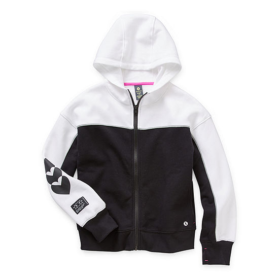 Xersion Cotton Fleece Little & Big Girls Cuffed Sleeve Hoodie