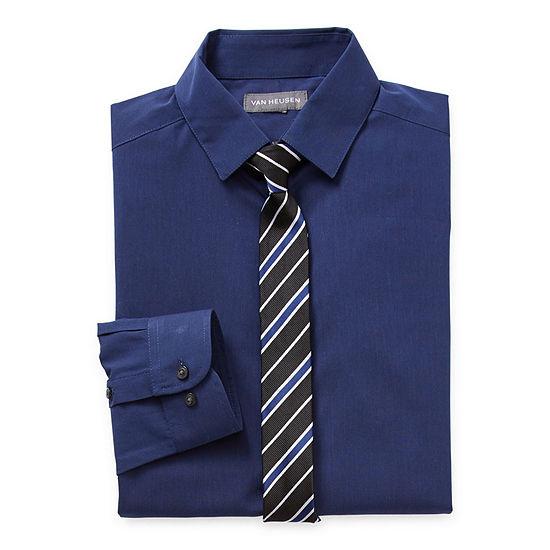 Van Heusen Little & Big Boys Husky Button Down Collar Long Sleeve Shirt + Tie Set