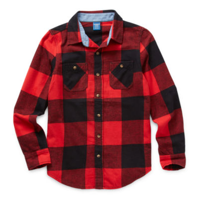Arizona Little & Big Boys Long Sleeve Flannel Shirt