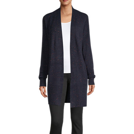 Liz Claiborne Womens Long Sleeve Open Front Cardigan, Small , Blue