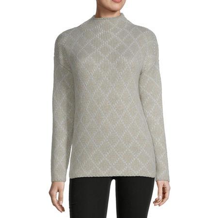 Liz Claiborne Womens Mock Neck Pullover Sweater, Small , White