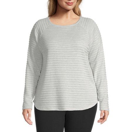 St. John's Bay Plus Womens Round Neck Long Sleeve T-Shirt, 0x , Gray