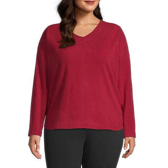 St. John's Bay Plus Polar Fleece-Womens V Neck Long Sleeve Sweatshirt