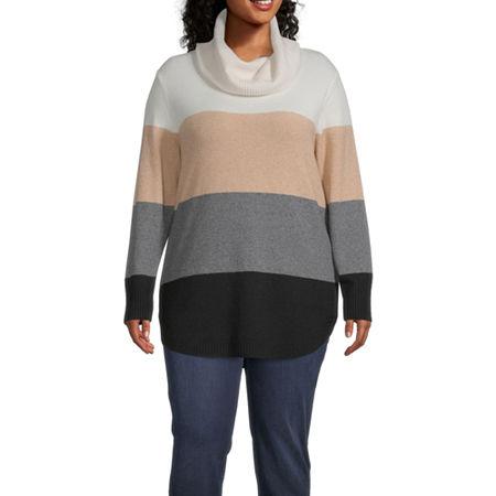 St. John's Bay-Plus Womens Cowl Neck Long Sleeve Pullover Sweater, 0x , White