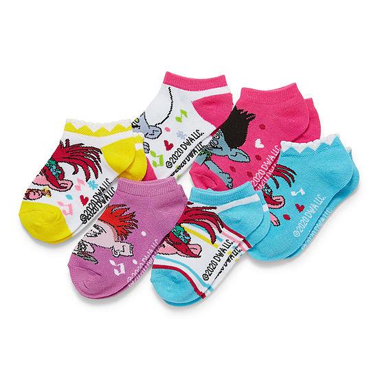 Little Girls 6 Pair Trolls No Show Socks