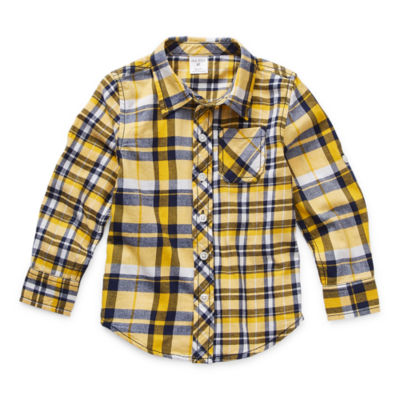 Okie Dokie Toddler Boys Long Sleeve Button-Down Shirt