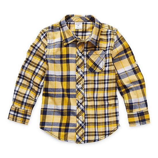 Okie Dokie Toddler Boys Long Sleeve Button-Down Shirt