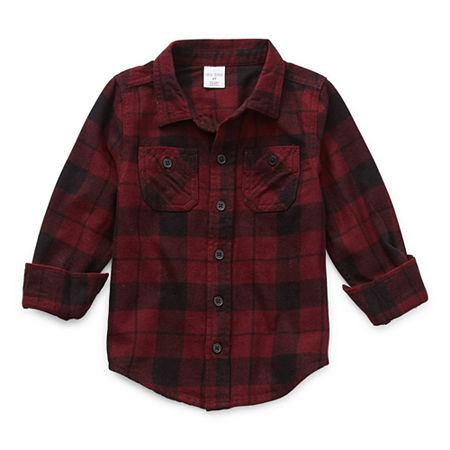 Okie Dokie Toddler Boys Long Sleeve Flannel Shirt, 5t , Red