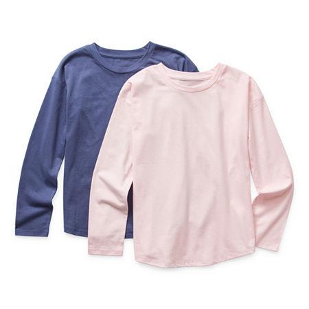 Arizona Little & Big Girls Round Neck Long Sleeve T-Shirt, Large (14) , Blue