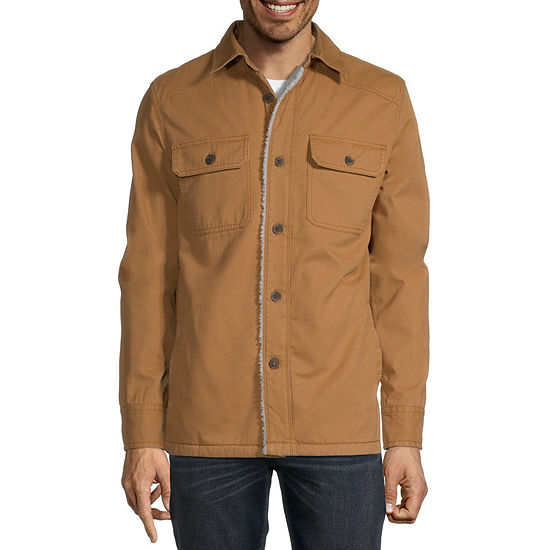 St. John's Bay Outdoor Sherpa Lined Twill Midweight Shirt Jacket