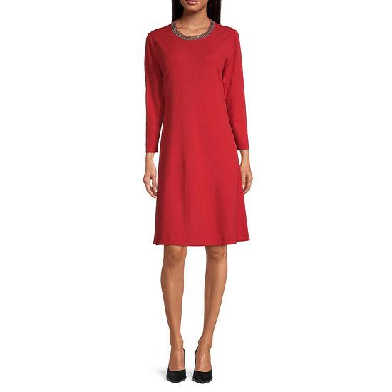 Liz Claiborne 3/4 Sleeve Embellished A-Line Dress
