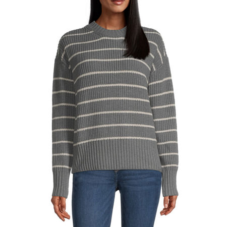 a.n.a. Womens Crew Neck Striped Pullover Sweater, X-large , Gray