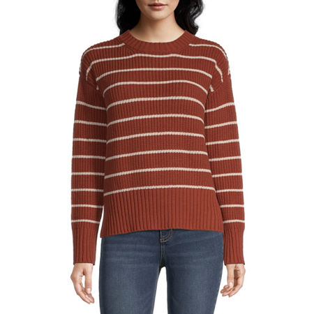 a.n.a. Womens Crew Neck Striped Pullover Sweater, Large , Orange